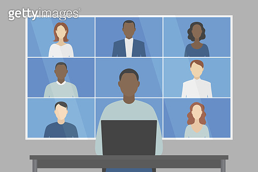 Group video chat. Vector illustration