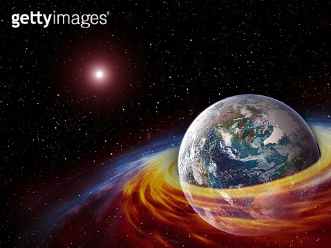 Planet Earth in a ring of particles and gas in a space with sun and stars, futuristic picture of the future. The elements of this image furnished by NASA.