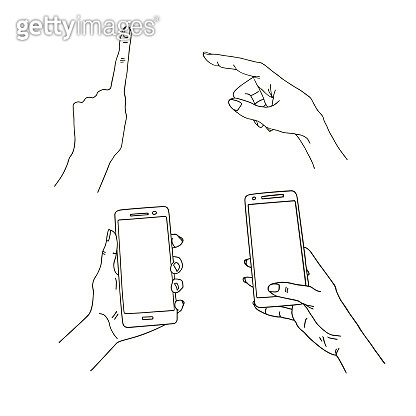 Hands in different interpretations. Mobile phone in hand. vector icon Vector illustration. Isolated on white background