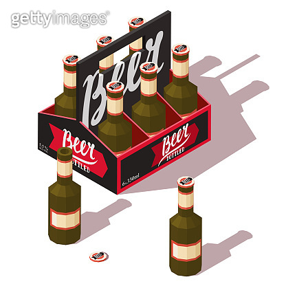 Beer pack icon with open and closed beer bottles. Low poly vector isometric illustration.