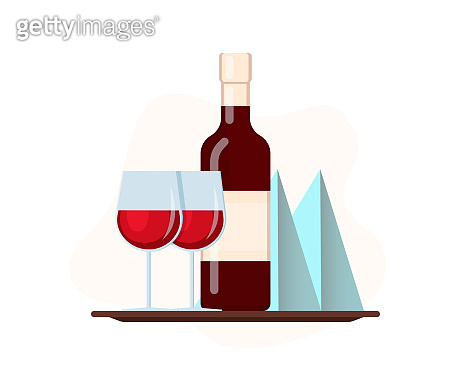 Wine glass on a tray