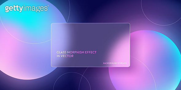 Colorful fluid gradient background with glass morphism. Vector template futuristic trendy design Banner, 3d Poster, minimalism neon cover, glass blur flyer. Geometric website, ui glossy backdrop