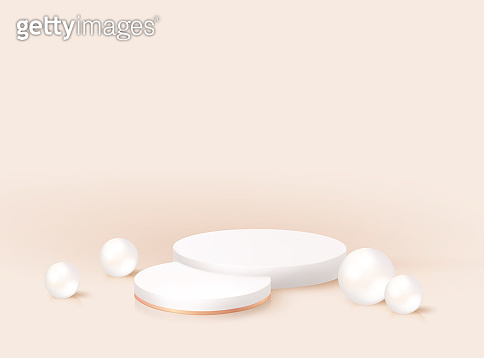 Minimal modern 3d realistic round pedestal with pearls. Nomination award stand mockup, scene render design. Geometric empty stage. Vector podium platform for product cosmetic, fashion studio display