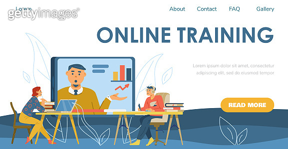 Online training web page with people at webinar, flat vector illustration.