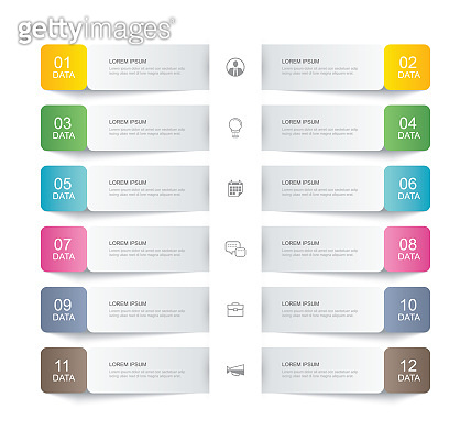 12 data infographics tab paper thin line index template. Vector illustration abstract background. Can be used for workflow layout, business step, banner, web design.