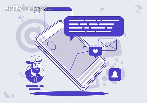 Vector illustration of a mobile phone, smartphone, with social media design elements, message cloud, notification icons, linear design