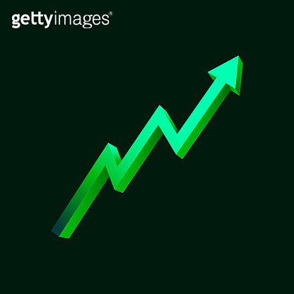 Green uptrend abstract background.