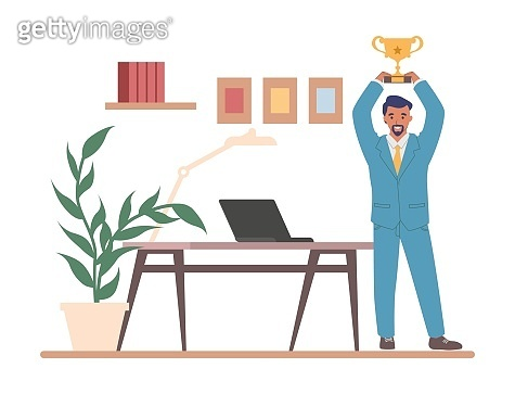 Happy employee winner, best office worker holding gold trophy cup, vector illustration. Business achievements, success.