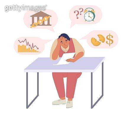Businessman experiencing financial problems, vector illustration. Business failure, bankruptcy, economic crash, crisis.