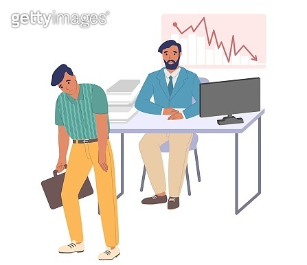 Fired employee leaving office, flat vector illustration. Layoff, unemployment, staff reduction due to financial problems