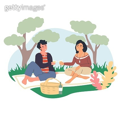 Romantic couple on picnic. Happy people sitting on blanket drinking wine, vector illustration. Summer outdoor leisure.