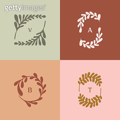 Vector logo design template in simple minimal style with hand-drawn leaves