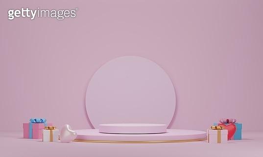 3d rendering, products valentine podium in love platform