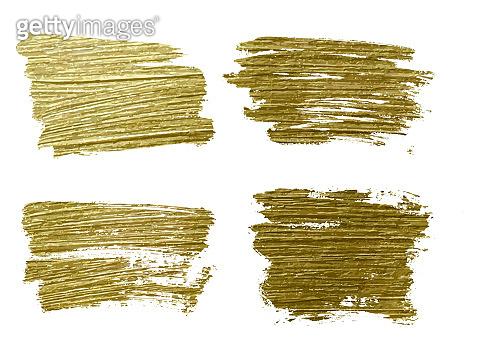 Gold paint smear stroke stain set. Abstract gold glitter texture art illustration.