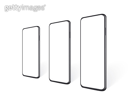 Realistic smartphones in row en perspective view with empty screen. Mobile phone mockup for presentation yout app design or website. Isolated black cell device template, vector 3d illustration.