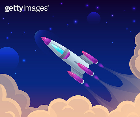 Rocket launch among clouds and sky. Cartoon spaceship flight in cosmos. Galaxy traveling. Startup project
