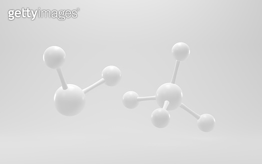 Simplicity chemical molecule with white background, 3d rendering.