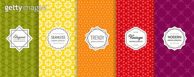Vector geometric seamless patterns set. Colorful background with stylish labels