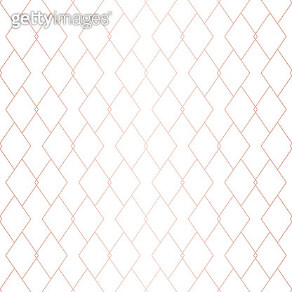 Rose gold pattern. Vector geometric seamless grid texture. Copper metallic lines