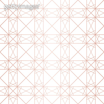 Rose gold pattern. Vector geometric lines seamless texture. Gold and white