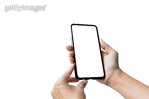 Close-up of business hands using mobile smartphone mock up, online marketing and technology digital transformation concept - clipping path