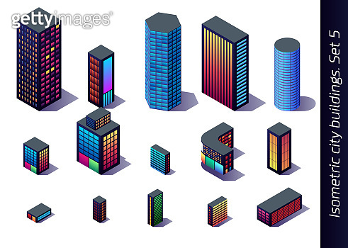 Isometric buildings for map, game or decoration with downtown, industrial and residental district models