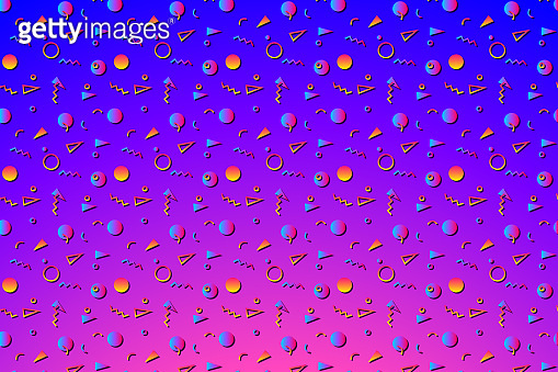 Abstract background with 80s geometics style pattern and vibrant psychedelic colors