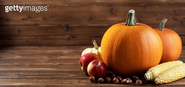 Autumn harvest still life with pumpkins