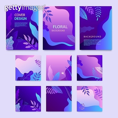 Vector Set of nature covers, square cards, brochure, annual report design templates for beauty, spa, wellness, natural products, cosmetics, fashion, healthcare. Purple plants