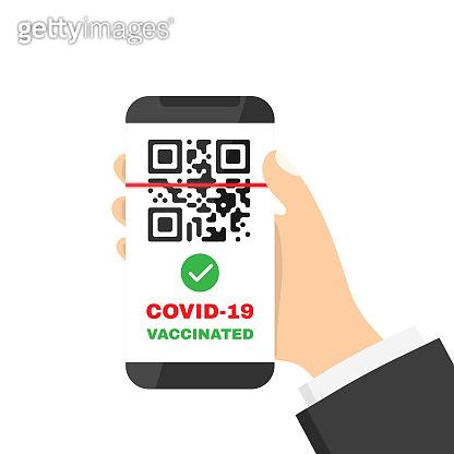Vaccination passport in smartphone illustration