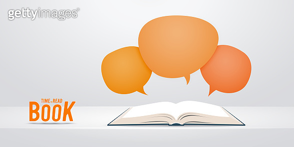 Open book with speech bubble flying out