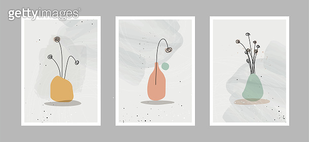 Modern abstract line flowers in lines and arts background with different shapes for wall decoration, postcard or brochure cover design. Vector illustrations design.