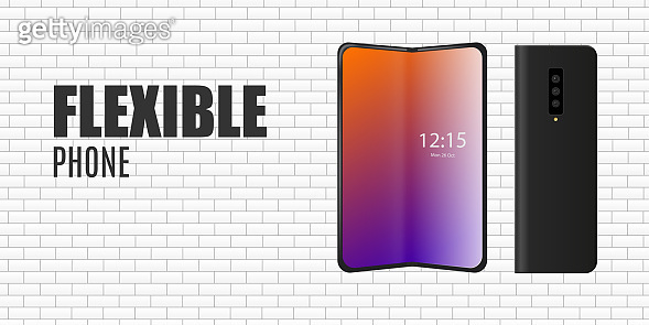 Flexible phone with glowing screen on brick wall, realistic vector illustration.