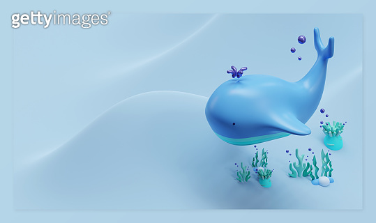 World Oceans Day Landing Page Template With Whale 3D Rendering Illustration