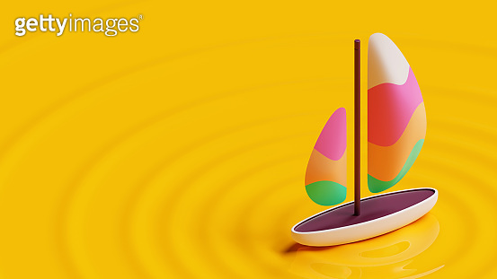 Summer landing page template with sailboat 3D Rendering