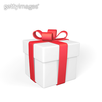 Realistic gift box with red bow isolated on white background. Vector illustration