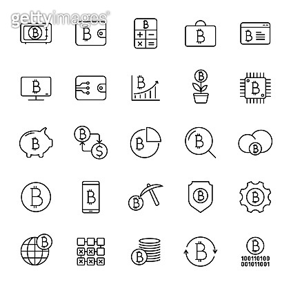 bitcoin linear vector icons isolated on white. bitcoin cryptocurrency icon set for web and ui design, mobile apps and print products