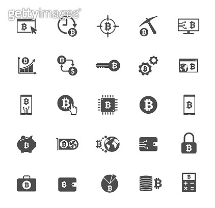bitcoin grey silhouette vector icons isolated on white. bitcoin cryptocurrency icon set for web, mobile apps, ui design and print