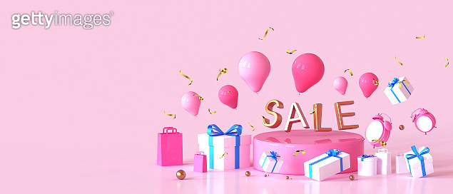 Sale promotion Concept Great discount banner design with gift box on Red Background. shopping online and gift design elements, poster, web site - 3d rendering