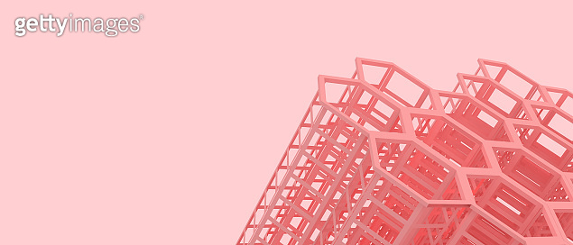 Abstract Inspiration Architecture and modern Background with Structure Geometric on Red. Copy space, website, poster, Card -3d Rendering