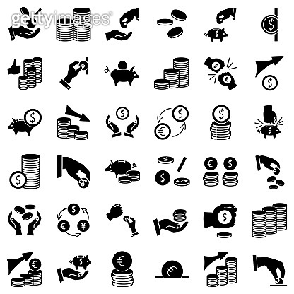 Finance, economy, payment, profit, contribution growth, wealth, bankruptcy. Set of simple vector icons, isolated.