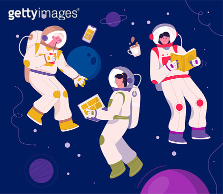 Astronauts flying in space. Cosmonauts in orbit daily routine