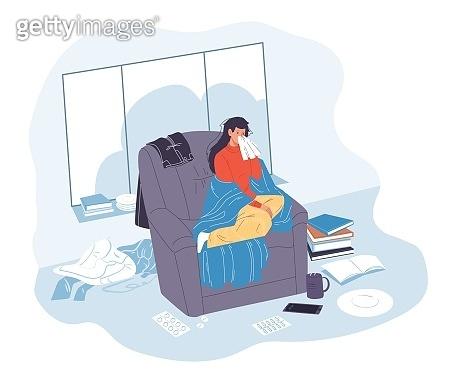 Flat cartoon character sick person vector illustration concept