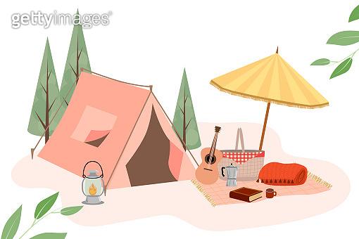 Summer camping, summer picnic poster