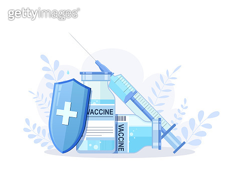Vial with vaccine and syringe against virus. Vaccination coronavirus covid-19.