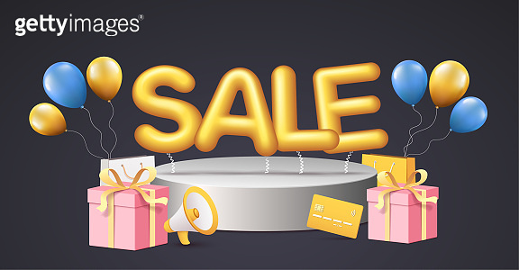 Discounts poster banner for retail, shopping, promotion with big word on sale podium, balloons with shopping elements on black background.