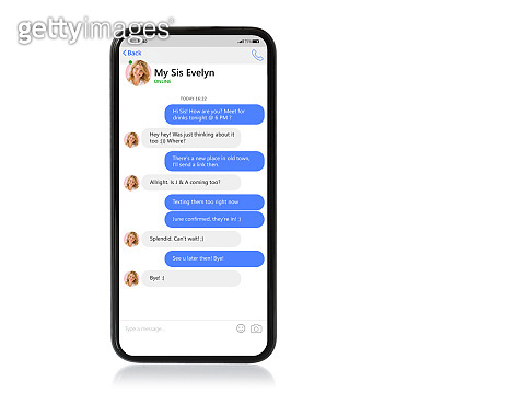 Mockup of mobile phone with sample chat app and text bubbles on screen