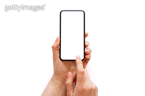 Person holding and using phone with empty white screen on white background