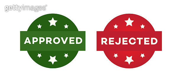 Approved and rejected label set isoalted on white background