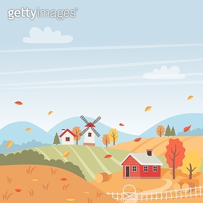 Autumn landscape with houses, trees, fields,and windmill. Countryside landscape. Vector illustration in flat style